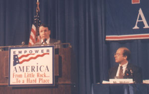 Steve speaking at an Empower America meeting